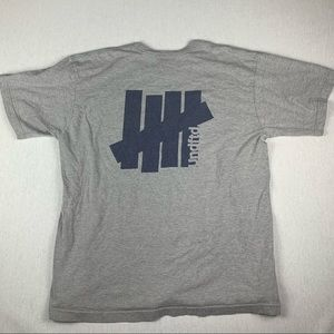 Undefeated Gray Navy Double Sided Graphic T Shirt